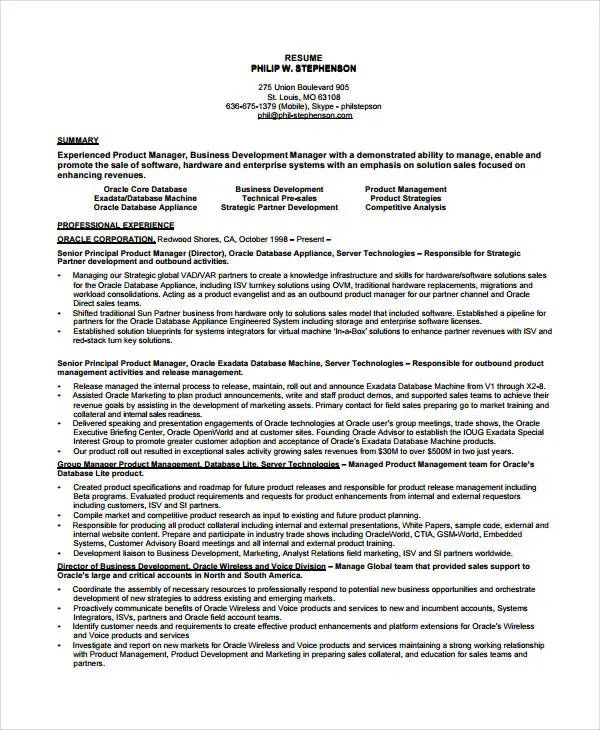 best sample product manager resume