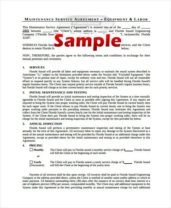 security service agreement template