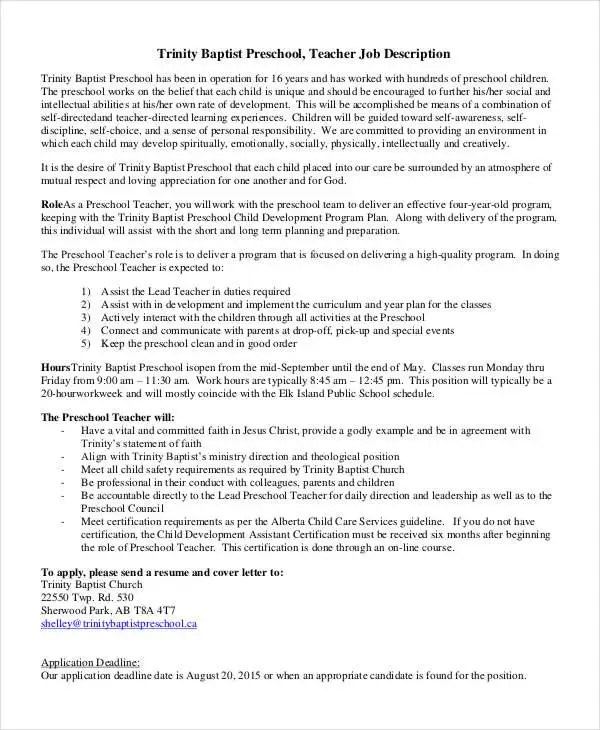 10 Preschool Teacher Job Descriptions in PDF  Free  Premium Templates