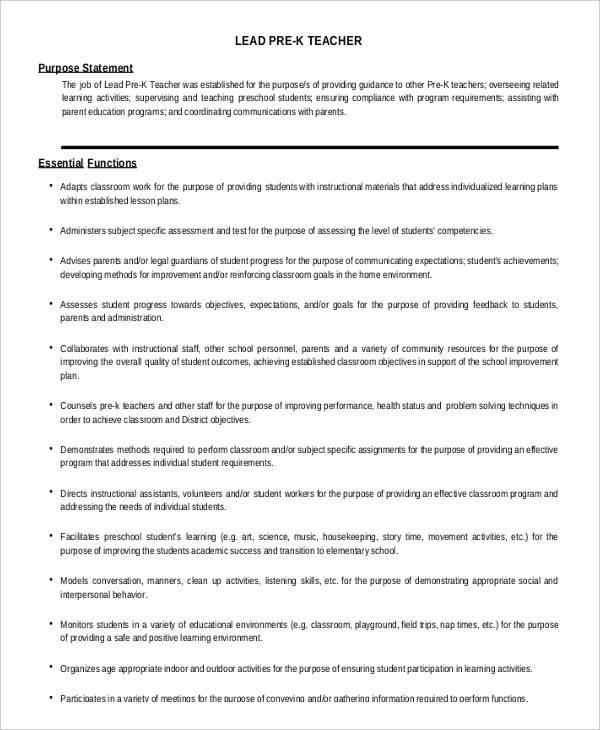 10 Preschool Teacher Job Descriptions In PDF Free