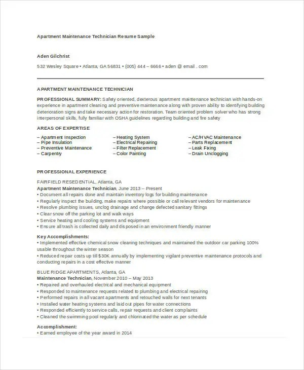 Maintenance Resume  9 Free Word PDF Documents Download