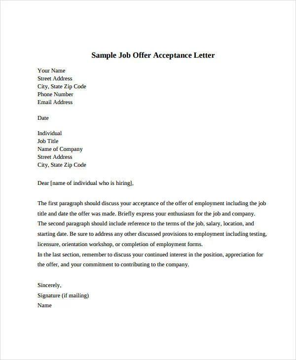 acceptance letter job offer