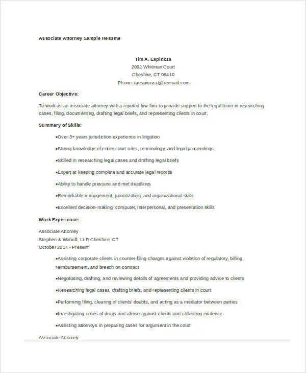 attorney resume samples free