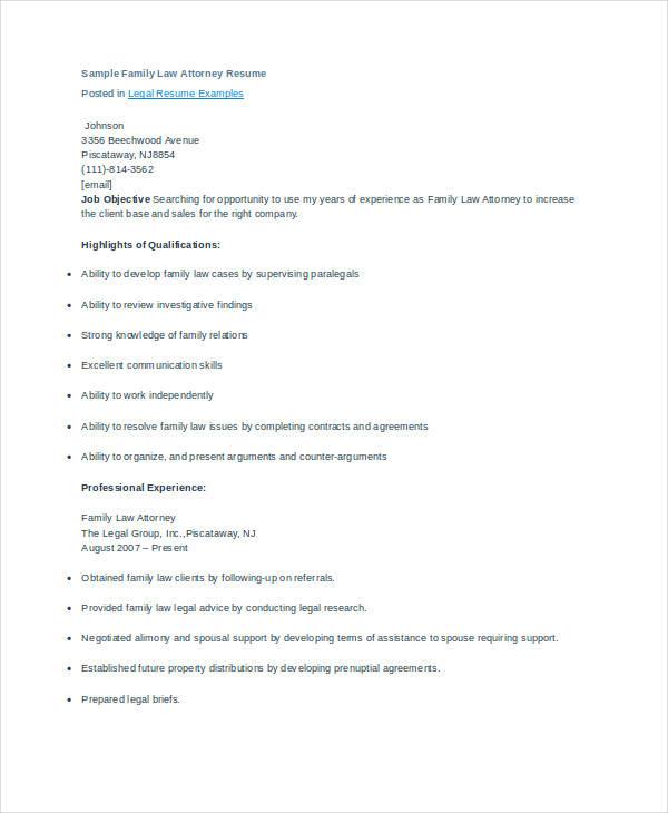 sample law resume