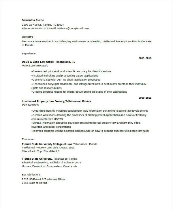 sample resume with patents