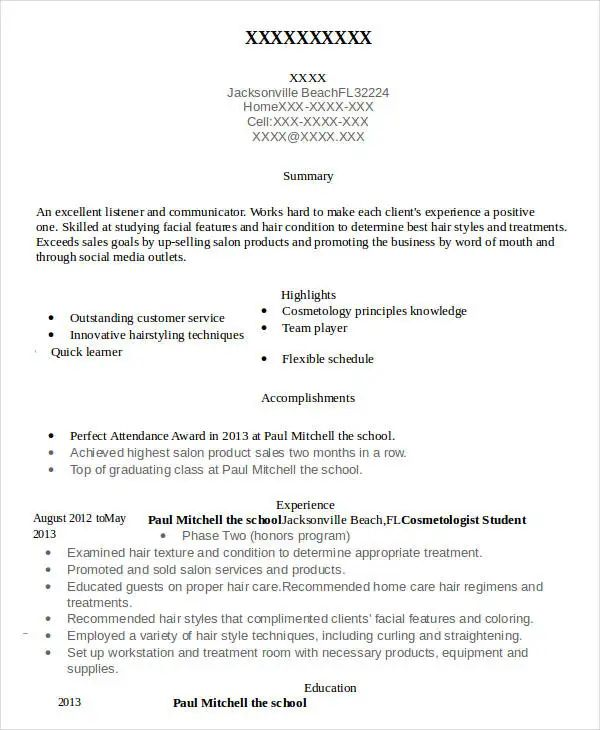sample cosmetology resume