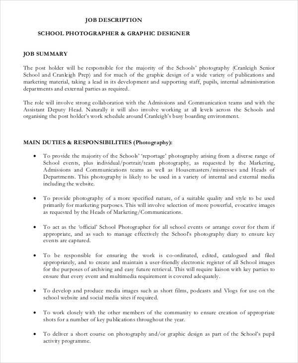 10 Photographer Job Description Templates PDF DOC