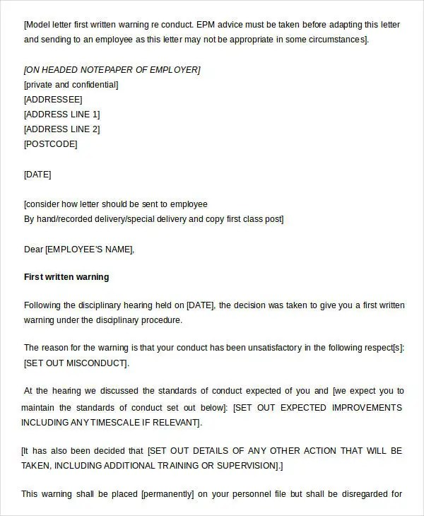 Example Of Written Warning Letter To Employee Uk  Docoments Ojazlink