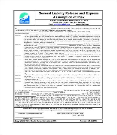 Liability Release Form - 10+ Free Sample, Example, Format | Free ...