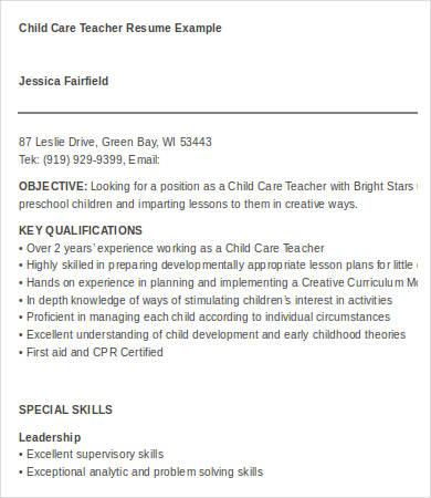 8 Child Care Resume Templates PDF DOC Free & Premium