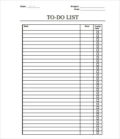 Things To Do List Template  9 Free Sample Example Format  Free  Premium Templates