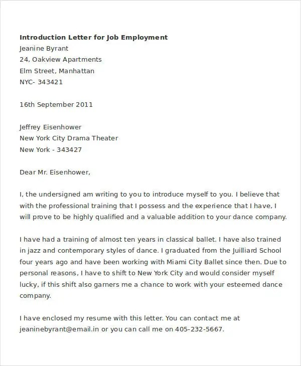 Letter Of Introduction For Job  6+ Free Word, Pdf