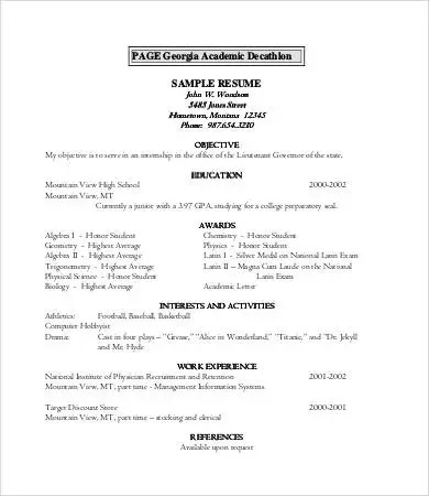Academic Resume Template 7 Word PDF Format Download