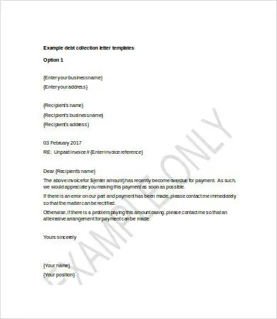Debt Letter Template 7 Free Word PDF Format Download