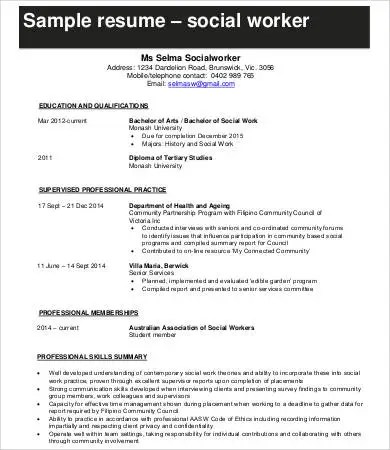 Social Worker Resumes Social Work Intern Resume Samples Visualcv