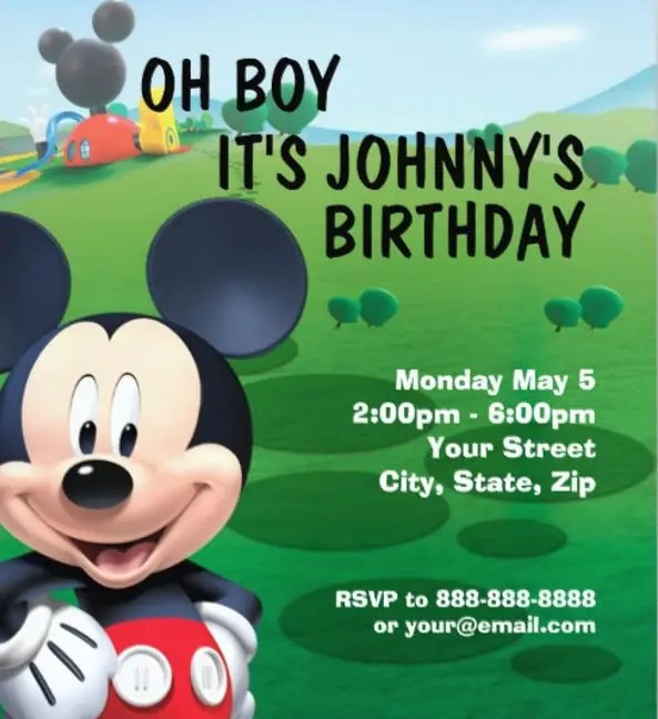 8 mickey mouse birthday invitation