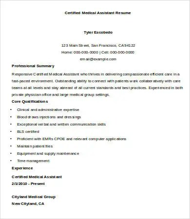 Sample Medical Assistant Resume 9 Free Sample Example Format