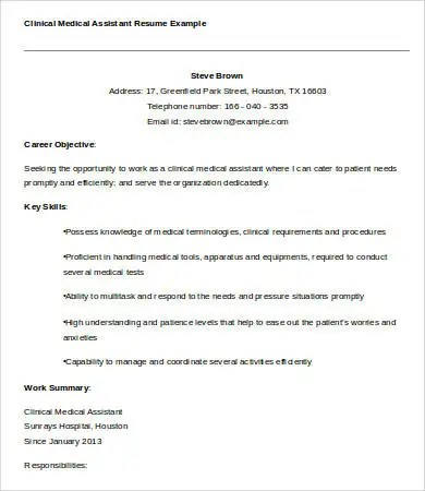 Resume sample medical assistant