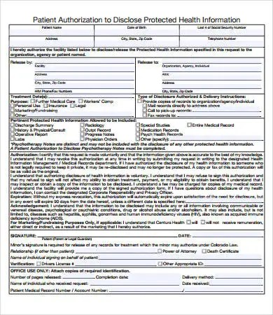 Medical Records Release Form  7+ Free Pdf Documents