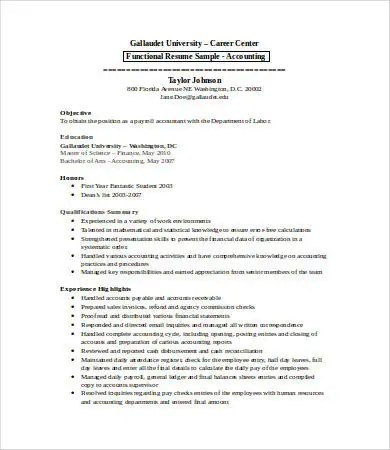 15 Sample Accounting Resume Templates PDF DOC Free