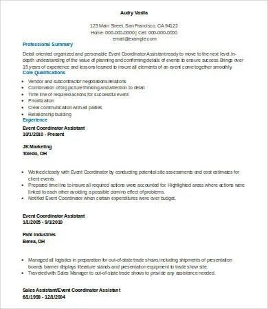 6 Event Planner Resume Templates PDF DOC Free