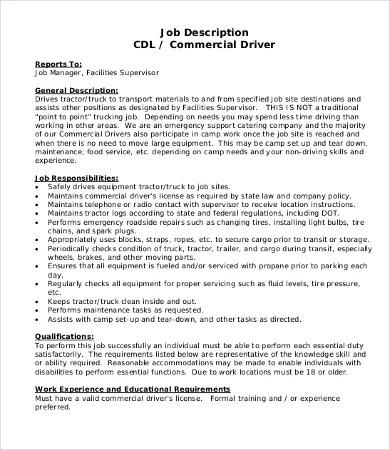 10 Driver Job Description Templates  PDF DOC  Free