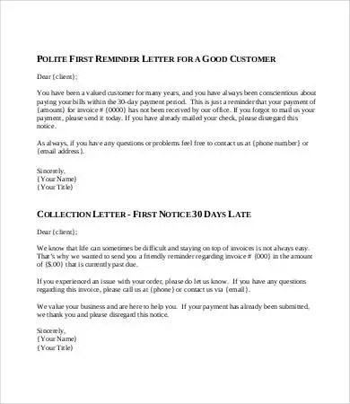 8 Collection Letter Sample Templates Google Docs MS