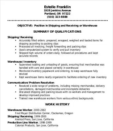 warehouse worker resume whitneyport daily com