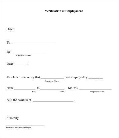 Letter Of Employment Verification 7