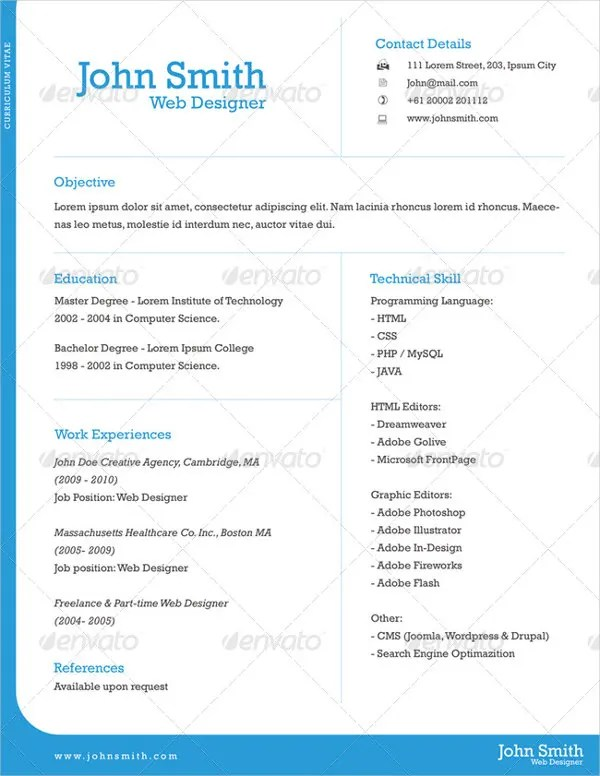 9 One Page Resume Templates  Free  Premium Templates