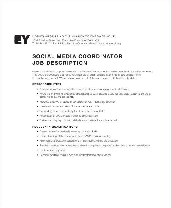 10 Social Media Job Description Templates  PDF DOC  Free  Premium Templates