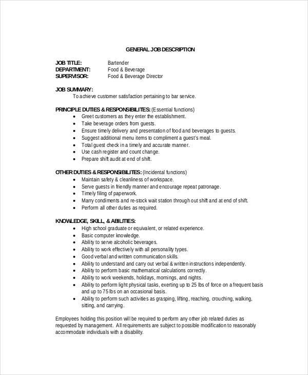 job description of bartender for resume