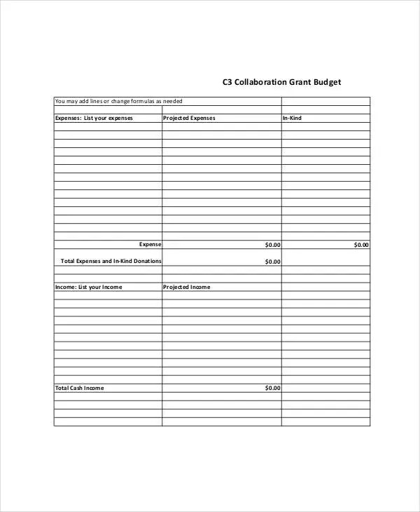 Grant Budget Templates 9 Free PDF Documents Download