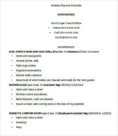 Hostess Resume Examples Pdf Of Resume Format Resume Format For