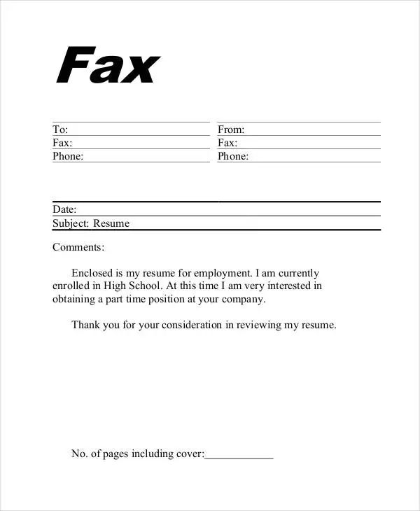 fax cover sheet for free
