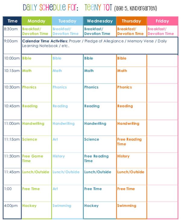 The Best homeschool schedule printable | Hunter Blog