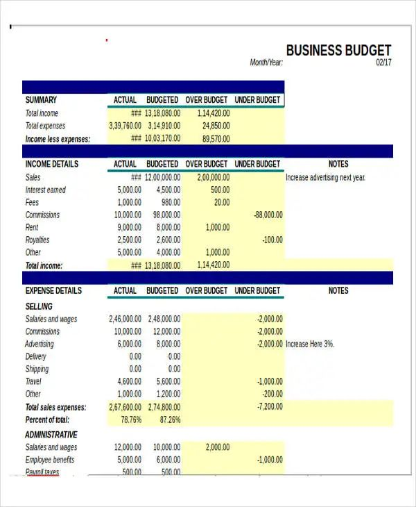 proposal budget template excel