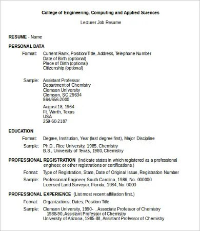 10 Sample Job Resumes Templates PDF DOC Free