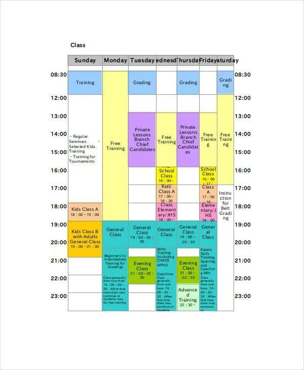 blank class schedule