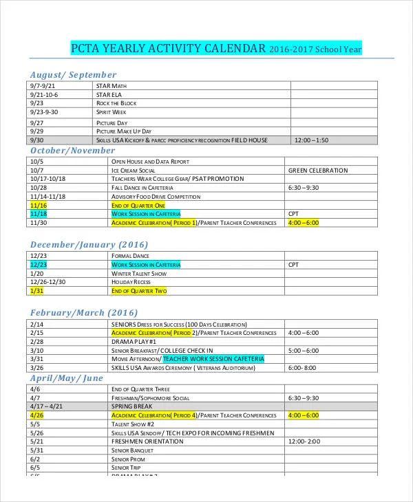 blank activity calendar template