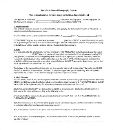 11 Photography Contract Templates  Free Sample Example