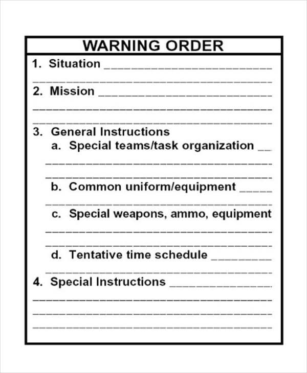 Warning Order Templates  Free & Premium Templates