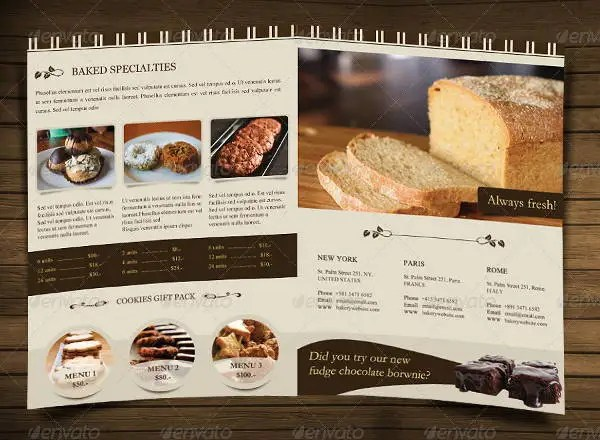8 Bakery Brochures Printable PSD AI InDesign Vector EPS Format