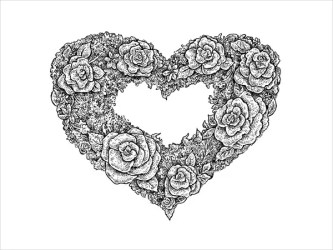 heart drawings drawing floral vector template heartbeat format cliparting