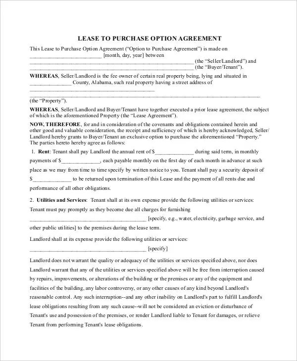 purchasing agreement template