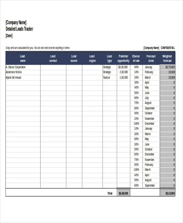 customer tracking spreadsheet excel