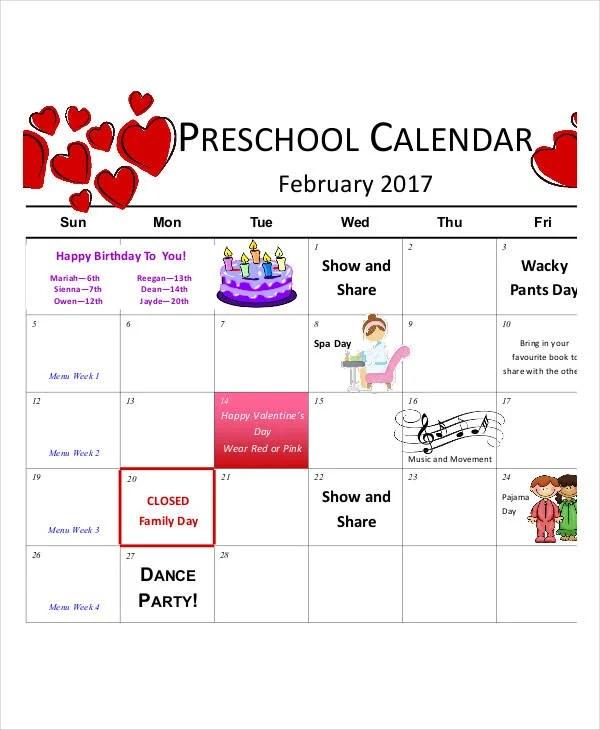 Preschool Calendar Template - 10+ Free PDF, Word Format ...