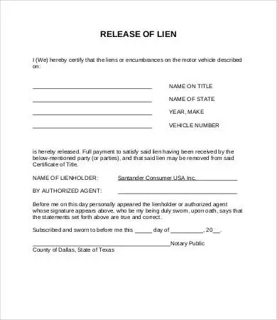 Vehicle lien release form are mistaken