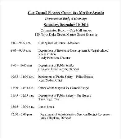 Department Meeting Agenda Template  9+ Free Word, Pdf