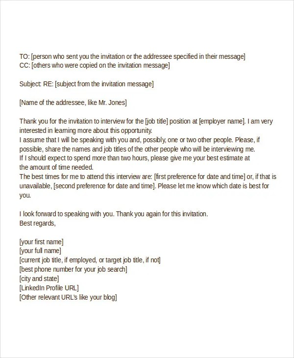 Acknowledgement Letter For Job Interview Invitation